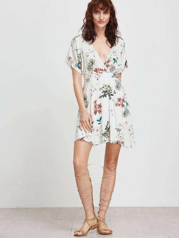 White-Flower-Print-V-Neck-Dress-With-Zipper-Back