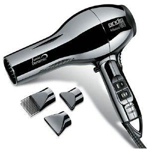 Ceramic Ionic hair dryer gotta love his shiny chrome finish + three different attachments.