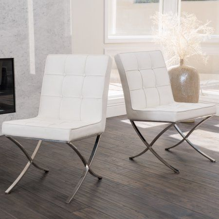 Noble House Harper White Leather Dining Chairs (Set of 2)