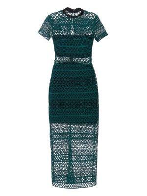 High-neck lace column midi dress | Self-portrait | MATCHESFASHION.COM US