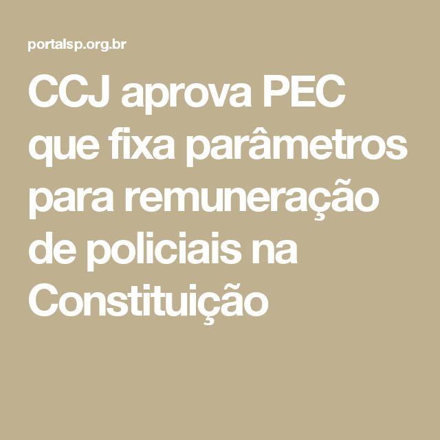 CCJ aprova PEC que fixa parâmetros para remuneração de policiais na Constituição