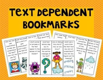 FREE! Text Dependent Bookmarks. What a great resource to give to parents at the beginning of the year or at conferences! LOVE THEM :)