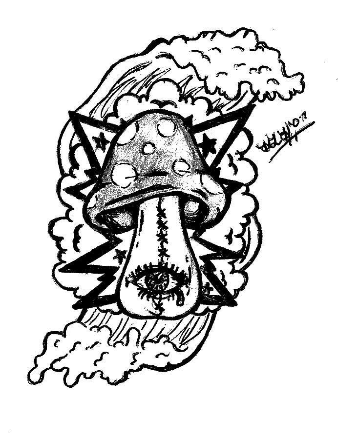 My Trippy Shroom Tattoo Design by hlh015 | Trippy drawings ...