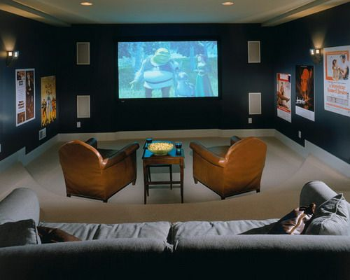 Dark blue media room color schemes traditional home Home theater colors