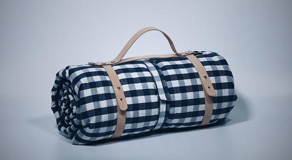 Handmade Picnic Mat with Leather Strap