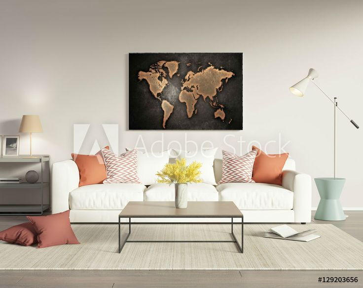 Eye Catching Piece Of Modern Art. Rustic Looking World Map. Great Piece Of.  Rustic Living RoomsLiving Room InteriorLiving Room Wall ...