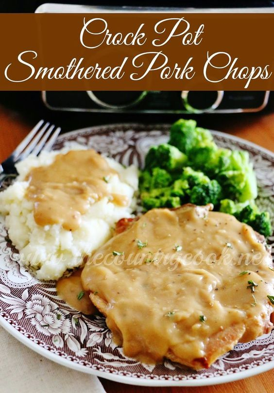 Crock Pot Smothered Pork Chops recipe from  The Country Cook. Let the crock pot…