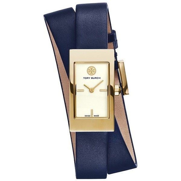 Tory Burch Buddy Signature Double-Wrap Watch, Navy Leather/Gold-Tone,... (£270) ❤ liked on Polyvore featuring jewelry, watches, accessories, gold tone watches, leather wrist watch, geometric jewelry, vintage style jewelry and leather crown