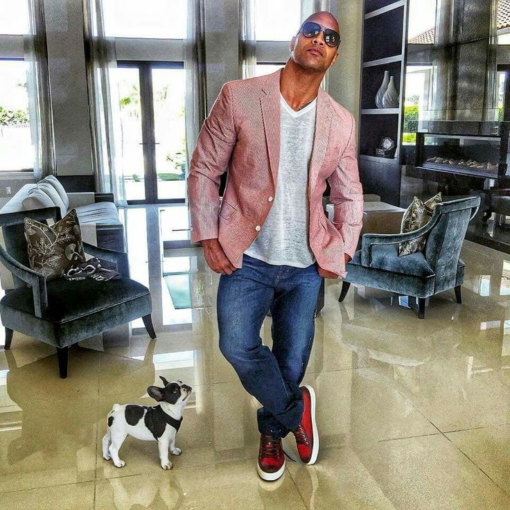 "Dwayne... ""the Rock Johnson"" and his new French bulldog puppy. (this replaces the one he lost recently)."