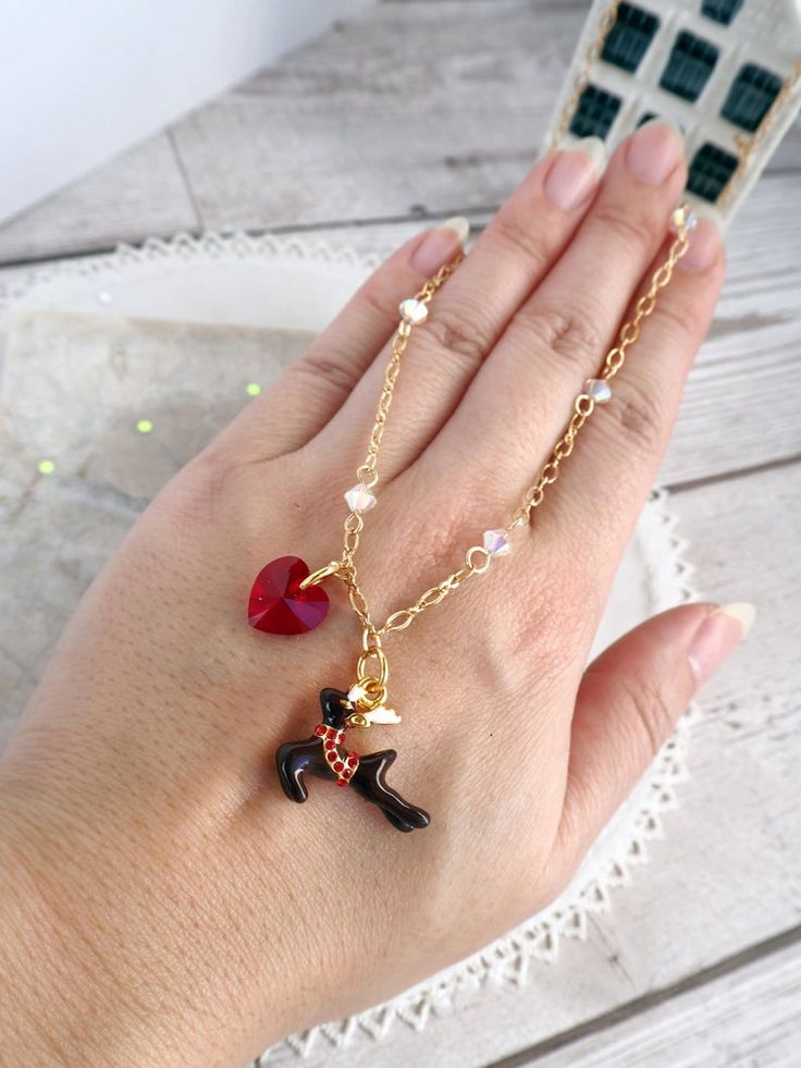 Christmas reindeer charm necklace valentine gifts for