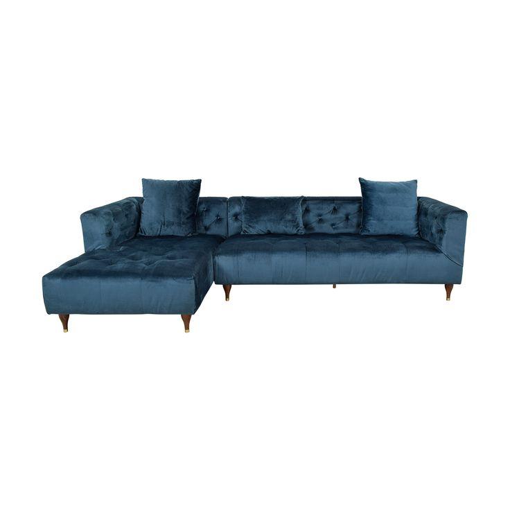 Best Ms Chesterfiel Velvet Sapphire Blue Tufted Left Chaise 400 x 300