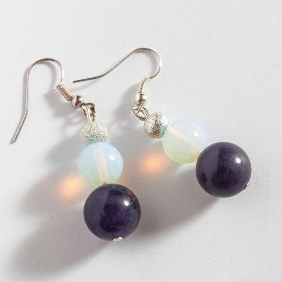 Opal Violet Amethyst Earrings Elegant Office by MaddaKnits on Etsy