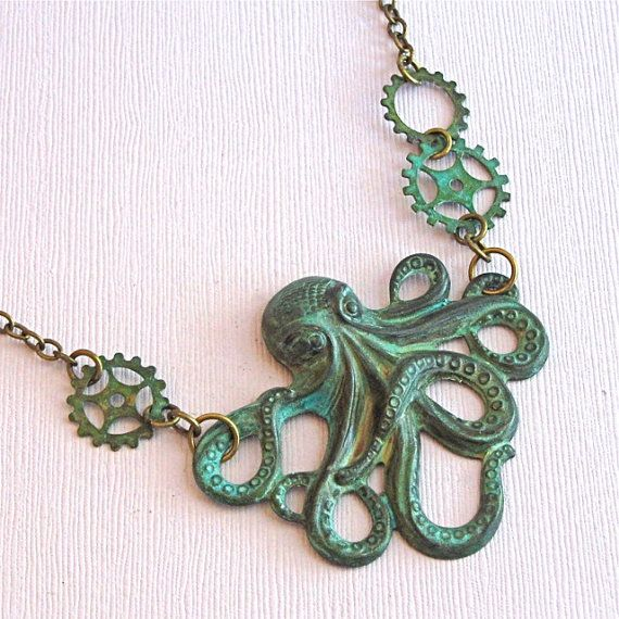 Octopus Steampunk Necklace - Verdigris Patina Brass Octopus Jewelry