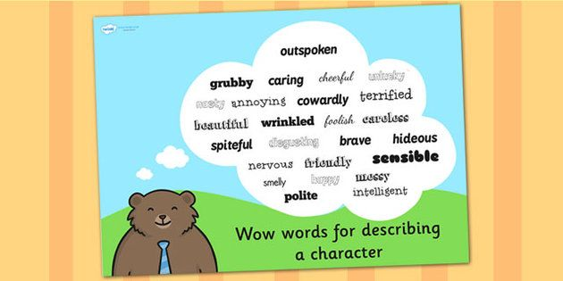 Wow Words For Describing a Character Poster