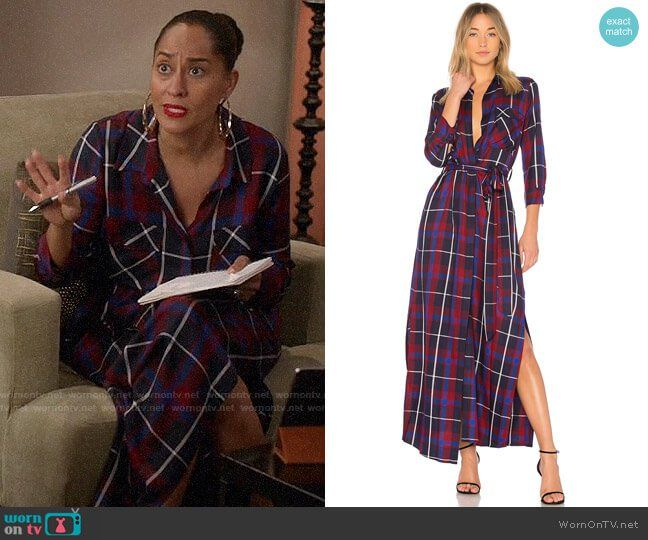 65696c73aa5e Rainbow s plaid maxi shirtdress on Black-ish. Outfit Details  https