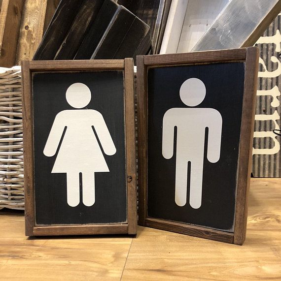 Restroom Boy And Girl Wood Signs Home Decor Bathroom Decor Rustic Farmhouse Rustic Bathroom Decor Wood Signs Home Decor Boy Girl Bathrooms