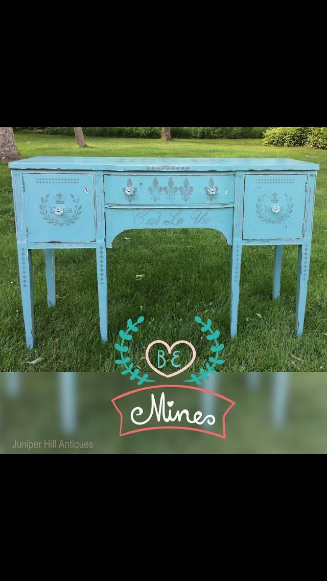 Teal French stenciled sideboard