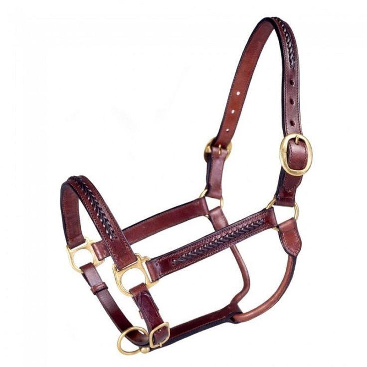 Brown Genuine Leather BRAIDED Design Horse Size Halter Brass Hardware NEW Tack    eBay