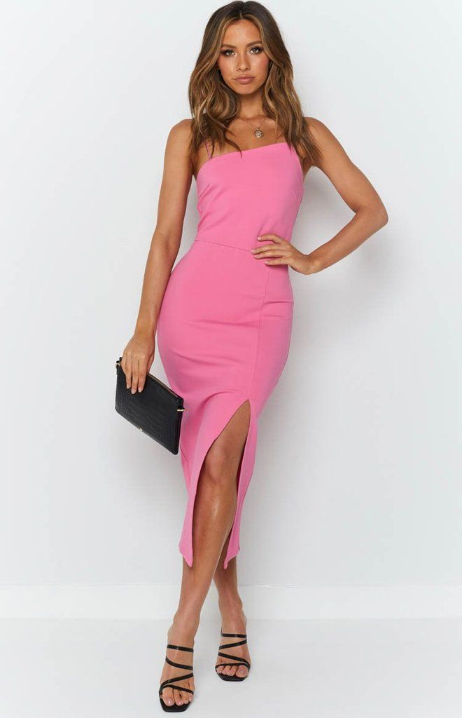 Cecilia Bodycon Dress Hot Pink Beginning Boutique In 2020 Bodycon Dress Pink Formal Dresses Bright Pink Midi Dress