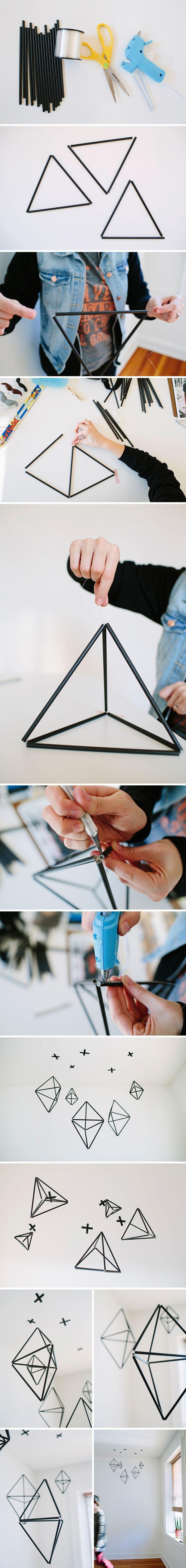 DIY Geometric Straw Mobile