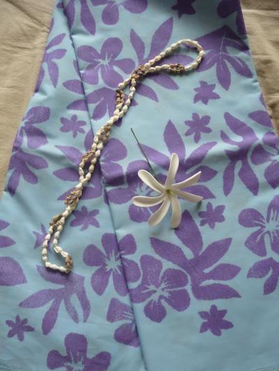 Ensemble pareo Tahiti Art Maohi * bleu*mauve