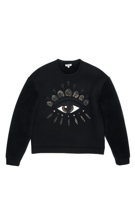 Shop Fleece Lined Neoprene Sweatshirt With Lotus Eye by Kenzo for Preorder on Moda Operandi