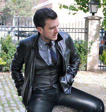 Men's leather jacket, waistcoat & jeans <3  #leatherwear  #leatherjackets
