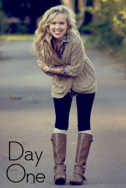 Fall layers. Like the beige sweater and plaid shirt combo with black pants & cognac boots.
