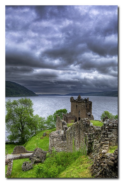 Urquhart Castle overlooking Loch Ness, in Scotland. The castle is 13 miles southwest of Inverness and dates from the 13th to 16th centuries.
