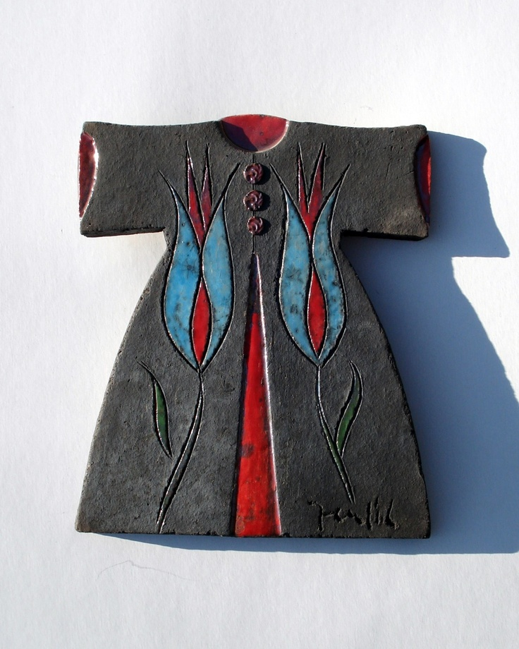 Raku Fired Black Ceramic Caftan with Blue Tulips. $60.00, via Etsy.