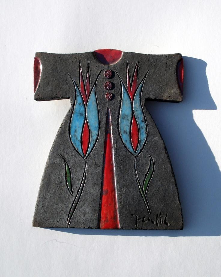 Raku Fired Black Ceramic Caftan with Blue Tulips. $60.00, via Etsy.