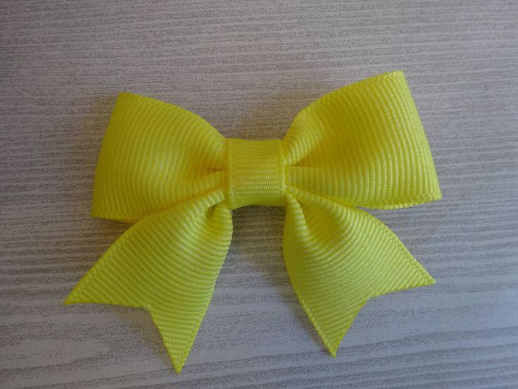 Light Yellow Mini-Cheerleader Hair Bow by SugarlumpBowtique on Etsy