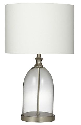 Metalic and Clear Glass Table Lamp - white shade - french  provincial - hamptons