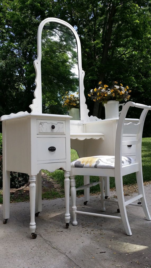 SOLD Painted Vanity Dressing Table With Mirror By ReDonebyDee