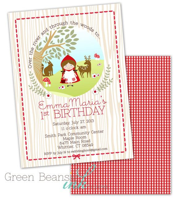 Little Red Riding Hood Birthday Printable Party by GreenBeansieInk, $13.95