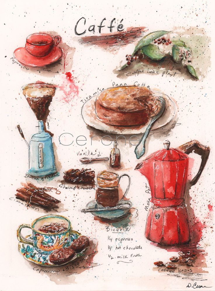 Italian kitchen print for coffee lovers This