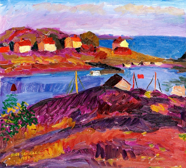 """Inge Schiöler 1908-1971""""House and boats, Koster"""", via Flickr. This Swedish artist was a very colorful painter, using mainly oil and pastel. He was one of the Gothenburg Colourists"""