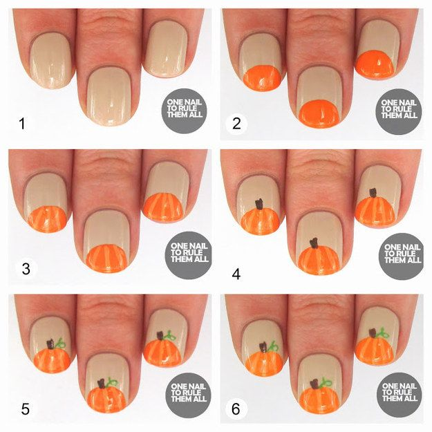 Pumpkin Nails. Fall HalloweenHalloween Nail ArtHalloween ... - 310 Best Fall Nails Images On Pinterest Nail Scissors, Cute Nails