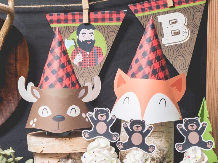 lumberjack gingham plaid woodland fox and deer party hats Instant download printable DIY