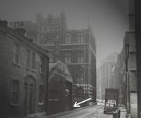 Old photo of Buck's Row, The arrow points to site where Mary Ann Nichols mutilated body was found, murdered by Jack the Ripper, 31 August 1888