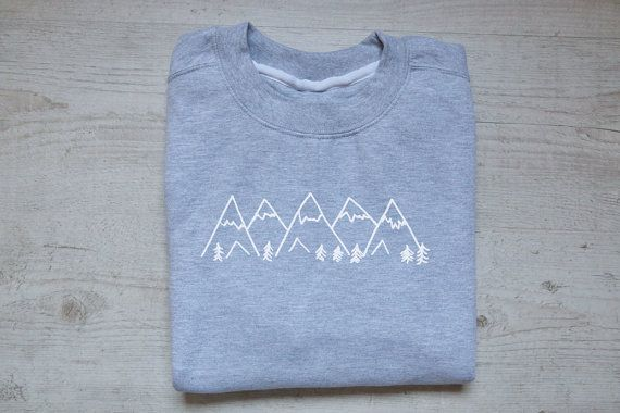 Mountains sweater slouchy sweatshirt soft vintage womens mens sweatshirt graphic design drawing tee hiking sweater heather gray