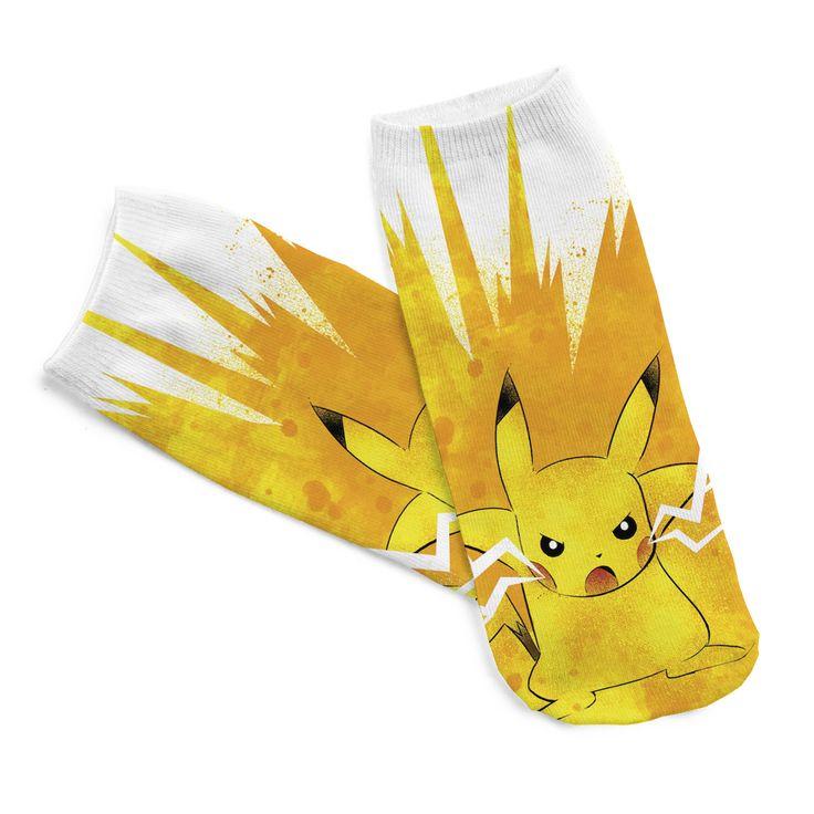 Yeni Varış Harajuku Pokemon Pikachu Çorap 3D Baskılı Karikatür kadın Casual Low Cut Ayak Bileği Çorap Sıcak Satış