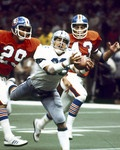 Super Bowl XII  Super Bowl XII - Jan. 15, 1978. After an exchange of punts, Dallas Cowboys wide receiver Butch Johnson made a spectacular diving catch in the end zone to complete a 45-yard pass from Roger Staubach. Dallas clinched the victory when running back Robert Newhouse tossed a 29-yard touchdown pass to Golden Richards. Dallas 27, Denver 10. (NFL)