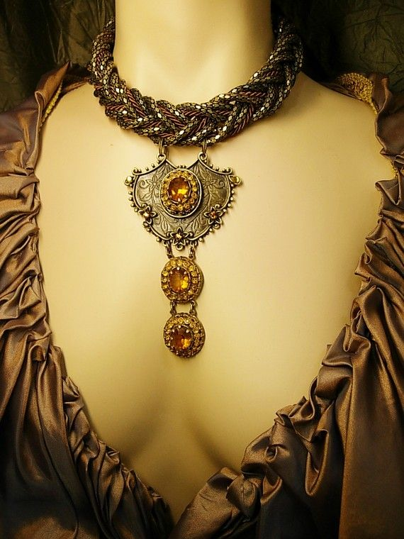 Dramatic Medieval NEcklace old Czech stone wide by vintagesparkles