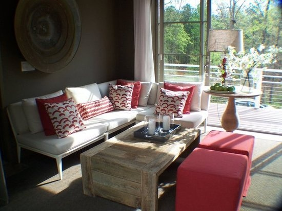 From HGTV 2012 Green Home  -Use outdoor furniture and fabrics for indoor spaces