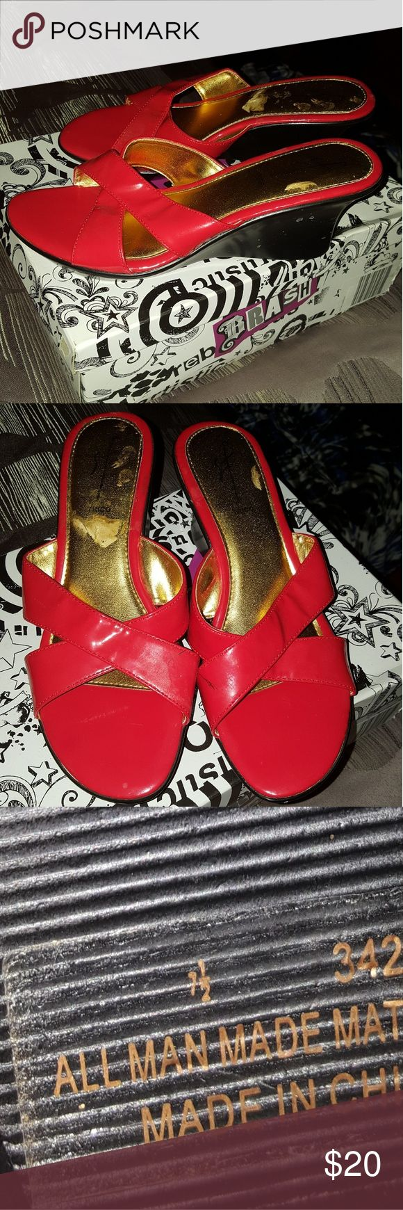 Women's red sandals size 7.5. Women's red sandals size 7.5. I wore them only one time for a few hours to a bridal shower to go with the outfit I was wearing. I purchased them at TJ MAXX for $39. They were super comfy but I unfortunately have not worn them since.  I don't dress up much and particularly don't have many red clothing items to match them with.  I found them today while cleaning out my closet and figured I would sell them to someone who would appreciate them more:) Shoes Sandals