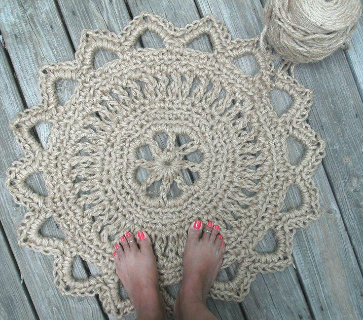 "Jute Cord Round Crochet Rug Doily 28"". $45,00, via Etsy."