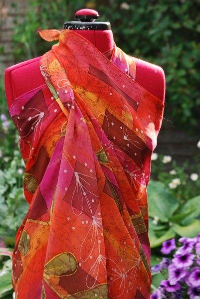 Large silk batik sarong. Any colour way undertaken no two the same but similar can be made. NICOLA HAIGH