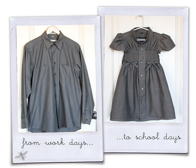 Repurposing a man's dress shirt to little girl's shirred dress.