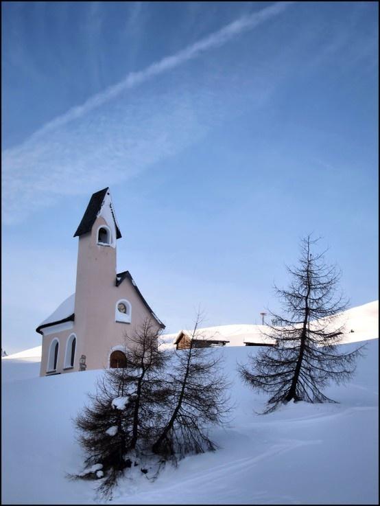 Alta Badia, Alps, Italy, Mountain, Little Church in to the Wild Snow, Faith and Nature
